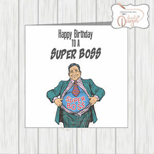 Image Is Loading Birthday Card For A Super Boss Rips Open