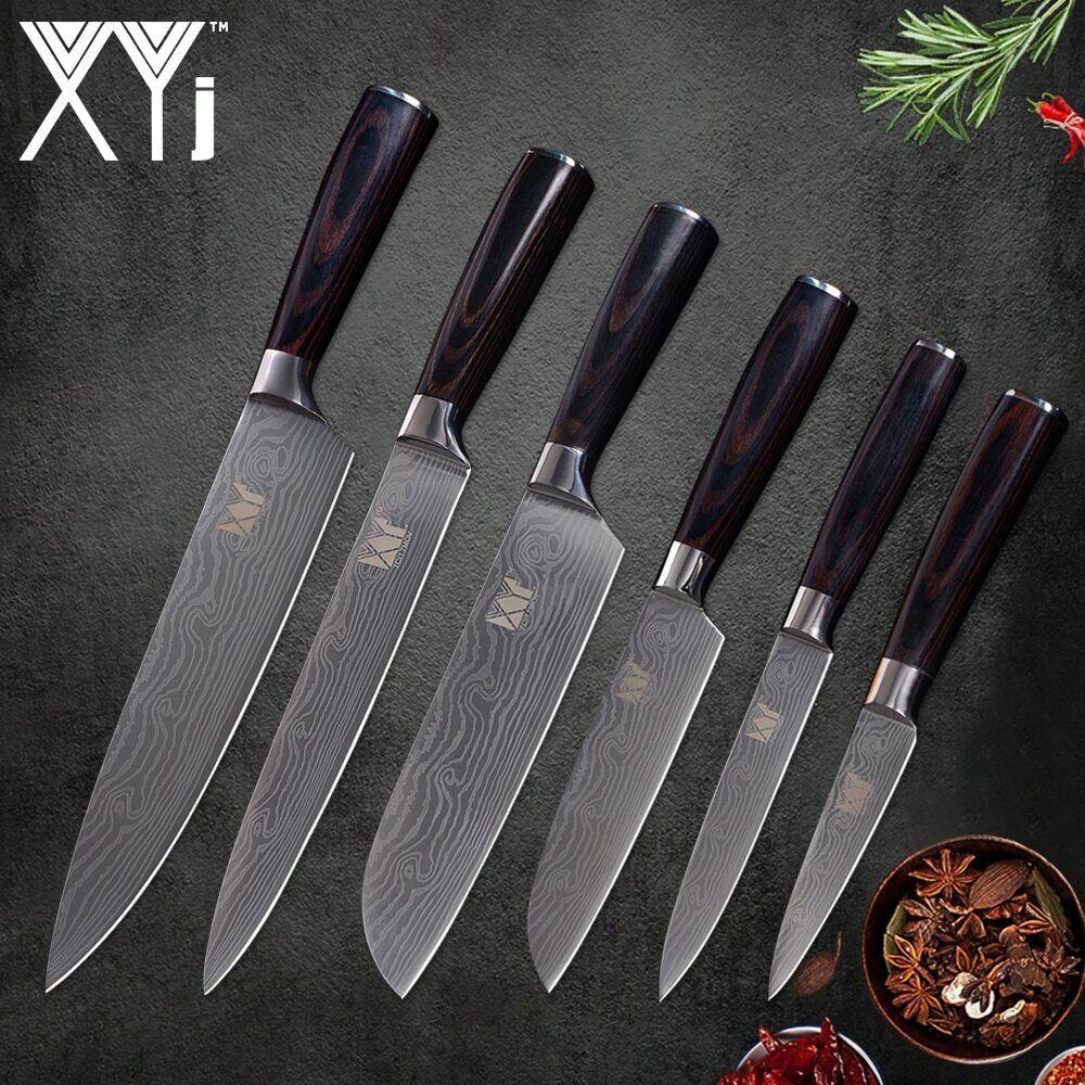 6er Damaskus Messer Set Damast Küchenmesser, Damascus Kochmesser Kochmesser Kochmesser Geschenk Küche c09222