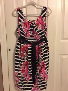 Motherhood Maternity Dress Size Large Stripes Floral Work Wear Shower Dress Ebay