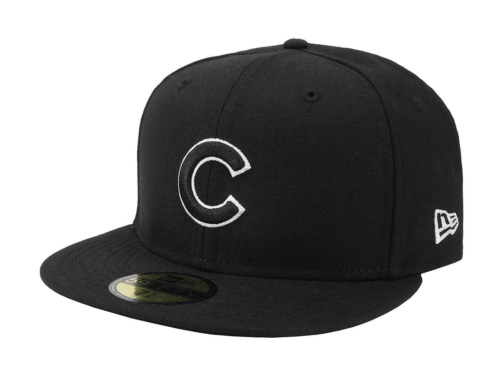 New Era 59Fifty Hat Mens MLB Chicago Cubs Apparel Mens Hat Womens Black White 5950 Cap 085f5f