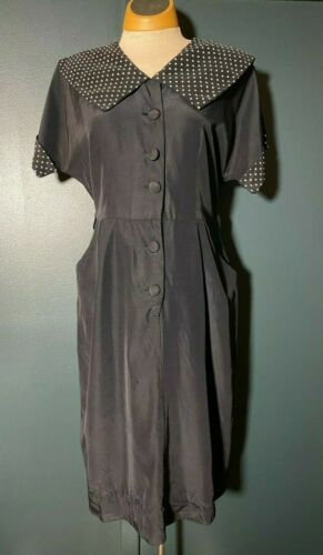 Vintage 1950's Rayon Shirtwaist Fit n Flare Dress