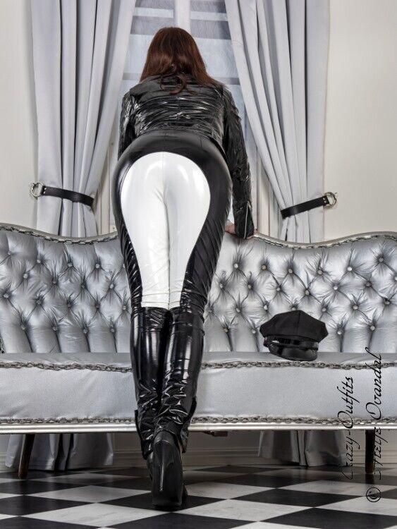 b142860e24b597 ... Lackhose Lackhose Lackhose Hose Schwarz Weiß Vinyl Reiterhosen-Style  Maßanfertigung 3d1211