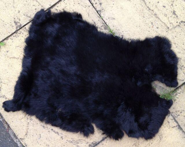 black real genuine rabbit fur skin pelt hide fabric material art craft sewing 1