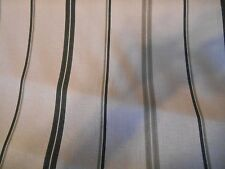 SHADES OF GRAY BLACK AND WHITE COTTON STRIPES DRAPERY OR UPHOLSTERY FABRIC