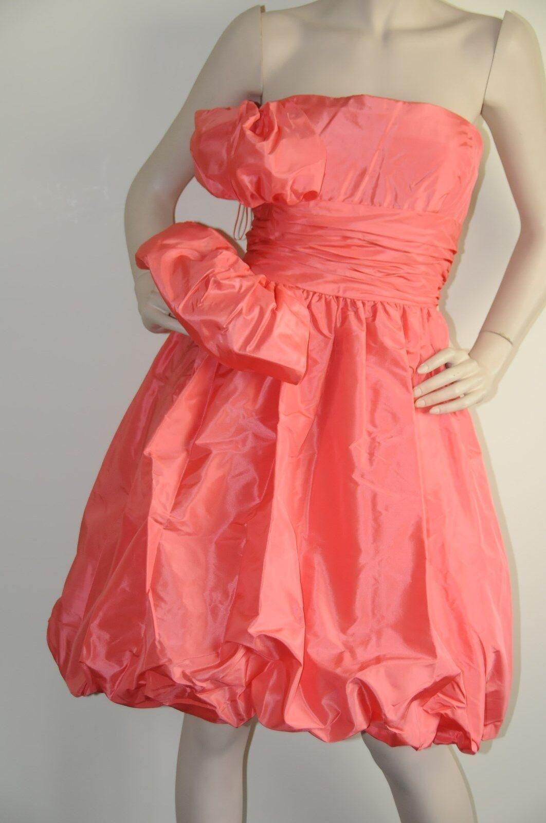 3290 New Oscar de la Renta Strapless Coral Silk Faille Taffeta Bubble DRESS 6