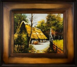 Painting-Nature-Hut-Forest-Handmade-Oil-Picture-Frame-G16070