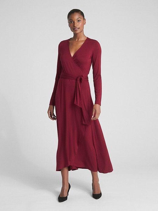 Gap Long Sleeve Knit Wrap Midi Dress, sz M Medium Tall Red Delicious