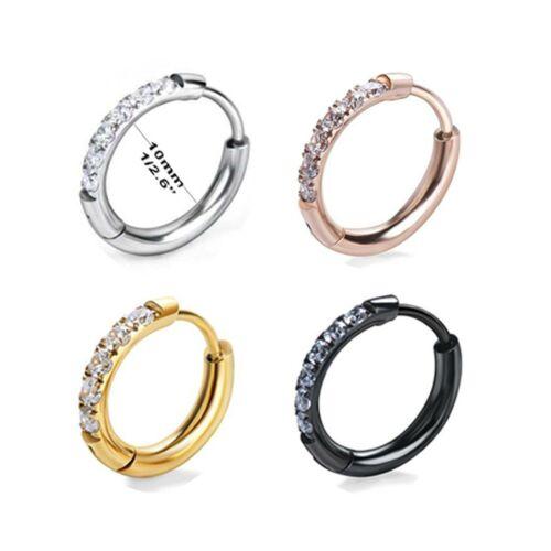 1 Pair Small Zirconia Inlay Hoop Earrings Hinged Cartilage Ear Clip for Women