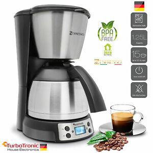 Edelstahl Kaffeemaschine mit Thermoskanne, Timer, Warmhalteplatt
