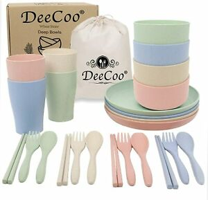 DeeCoo Wheat Straw Dinnerware Sets of 4 (24pcs), Unbreakable and Lightweight...