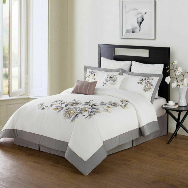 Bridge Street Kelsie Comforter Set Embroidered Multi Grey Ivory New