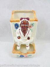 Antique Vintage MAMMY JAPAN Match Box Wall Holder Black Americana Hand Painted