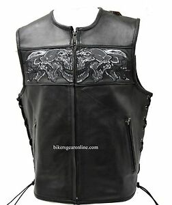 MEN-039-S-MOTORCYCLE-HIGH-VISIBILITY-REFLECTIVE-SKULL-LEATHER-VEST-2-GUN-POCKETS-NEW