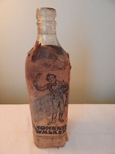 Vintage Johnnie Walker Whiskey Bottle with Paper Label Rare