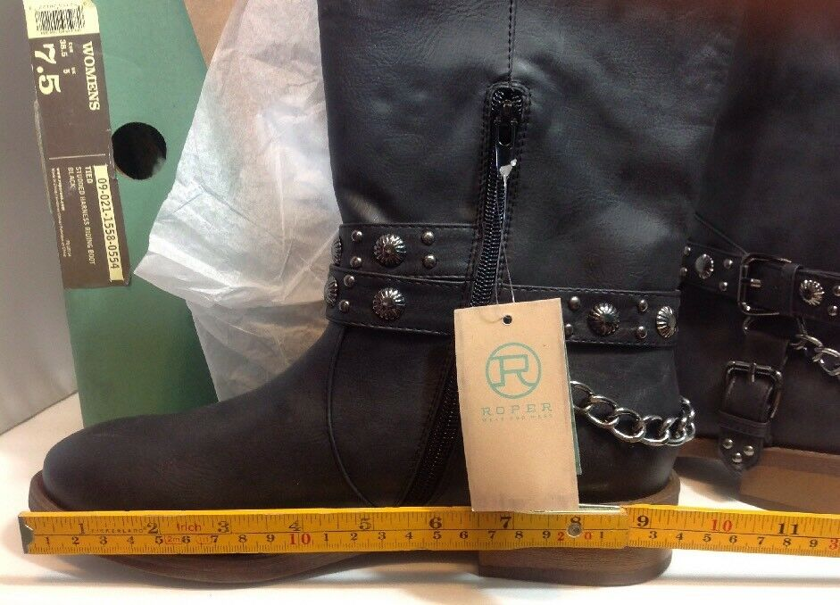 NEW NEW NEW ROPER Womens Cowboy Riding Boots Size 7 1 2 Stud Biker Chain Black Leather 53fe94