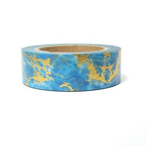 Blue Stone Washi Tape One Roll 15mm x 10m marbled