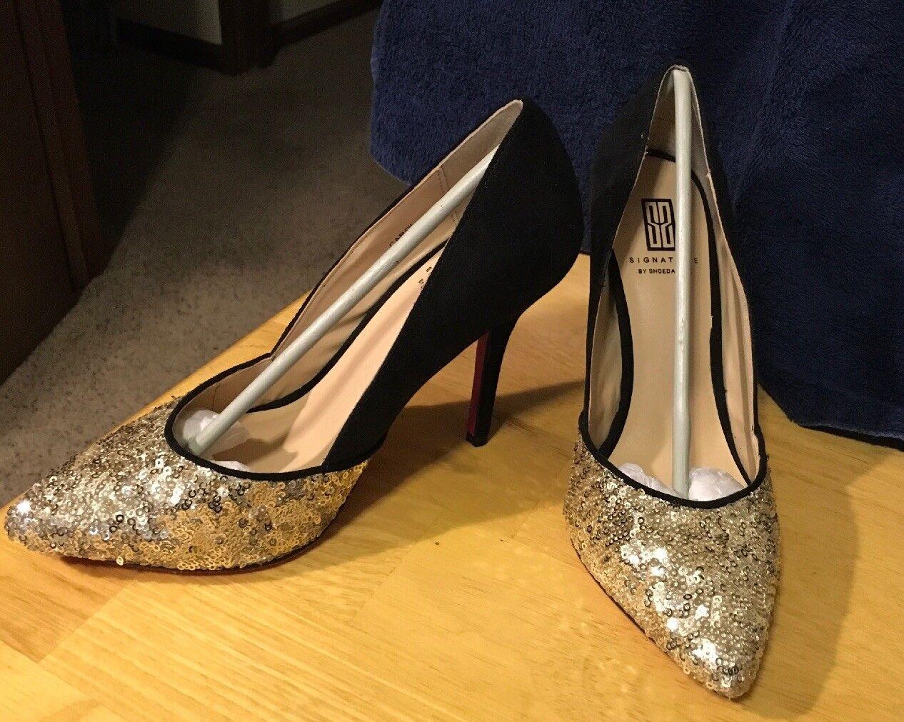 all'ingrosso a buon mercato New Shoedazzle oro Sequin nero Suede High Heel Heel Heel Pumps Sz 6  più economico