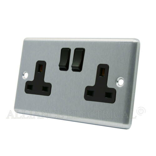 13 Amp Double 2G Plug Outlet Point Brushed Satin Chrome Classical Socket 2 Gang