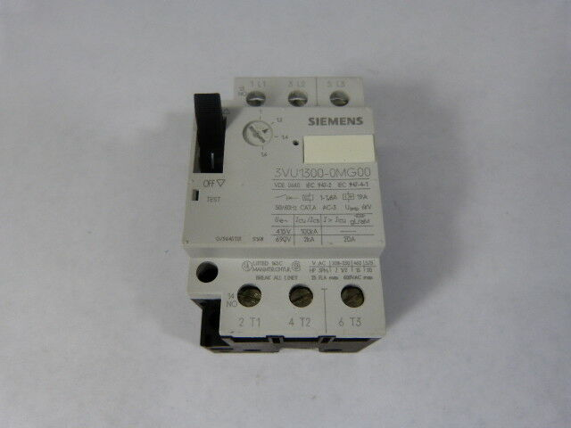 Siemens 3VU1-300-0MG00 Starter Motor Predector 1-1.6Amp  USED