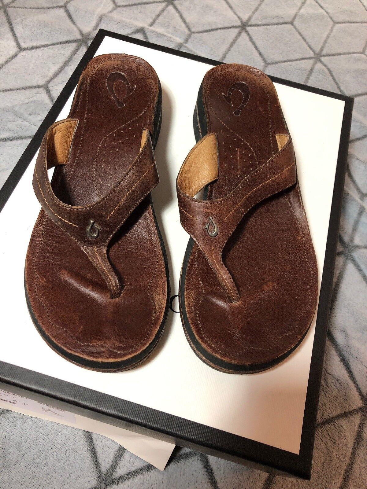 B40 Women's Olukai LANI Leather Flip Flop Sandals Size 10 Brown