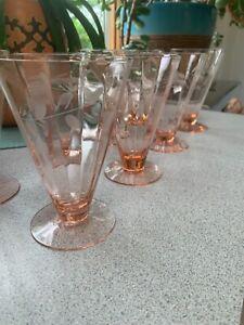 Vintage Pink Depression Glass Set of 8 Etched Sundae Glasses