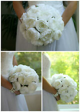 Ivory Silk Peony Hand Tie (12 Peonies) - Bridal Wedding Bouquet