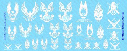 1//6 Scale Decals Halo Blanc Unité Logos-Waterslide Decals