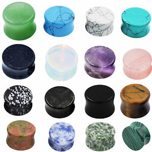 2PCS-Natural-Stone-Plugs-Organic-Double-Flare-Ear-Gauges-Body-Jewelry-US-STOCK