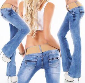Womens-Bootcut-Jeans-Destroyed-Look-Blue-Stretch-Jeans-Belt-Inc-Siz-6-8-10-12-14