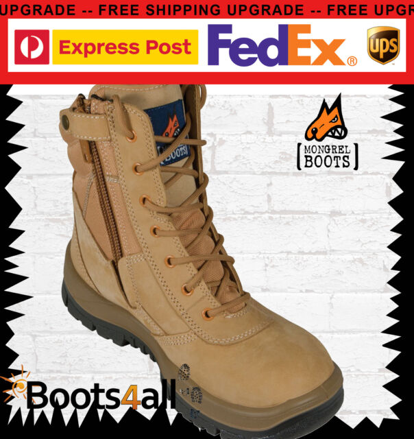 "New Mens Mongrel Work Boots ZIP Lace Up Safety Steel Toe 9"" High Leg 251050"