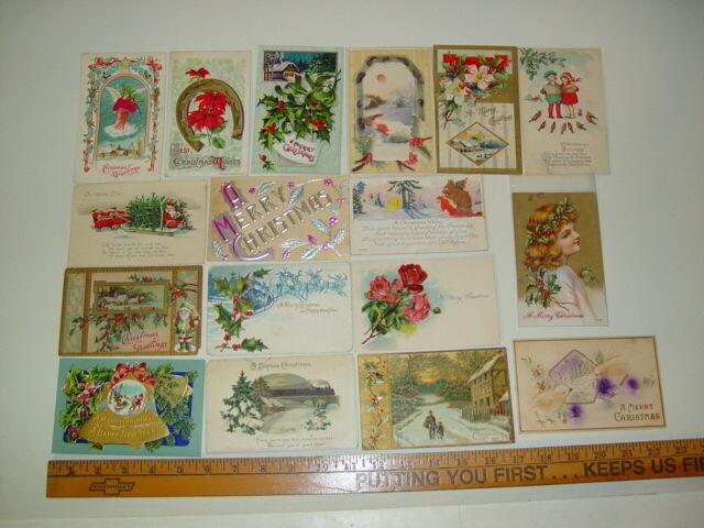 Antique Lot 17 Christmas Postcards