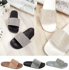 LADIES WOMENS SLIP ON DIAMANTE BLING SLIDERS SLIPPER SPARKLY SANDALS SHOES SIZE