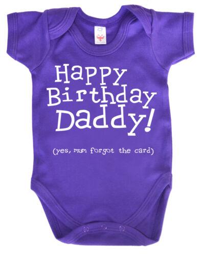 "Funny Baby Bodysuit /""Happy Birthday Daddy mum forgot the card/"" Babygrow Gift"