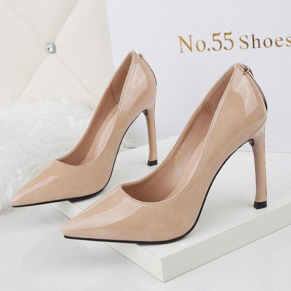 pumps frau 10 cm elegant stilett elegant beige poliert simil leder 9670