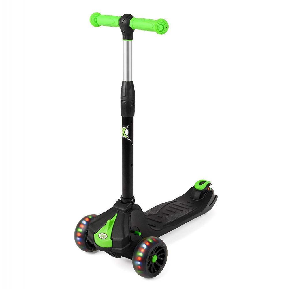 Xootz Kids Regolabile Pieghevole Tri Scooter Outdoor LightUp LED RUOTE NERO