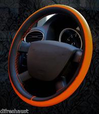 Ford Focus XR5 Genuine Leather Steering Wheel Cover in Brown Orange Blue & White