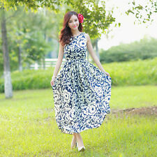 US Summer Women Vintage Boho Long Maxi Evening Party Beach Dress Floral Sundress