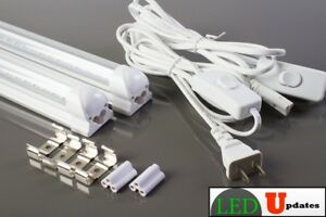 2x-4ft-garage-basement-LED-integrated-clear-tube-light-20w-with-6ft-Power-cable