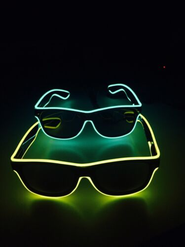 Ideal For Fancy Dress! 4 x Pairs Of Funky Flashing Neon Light Up Sunglasses
