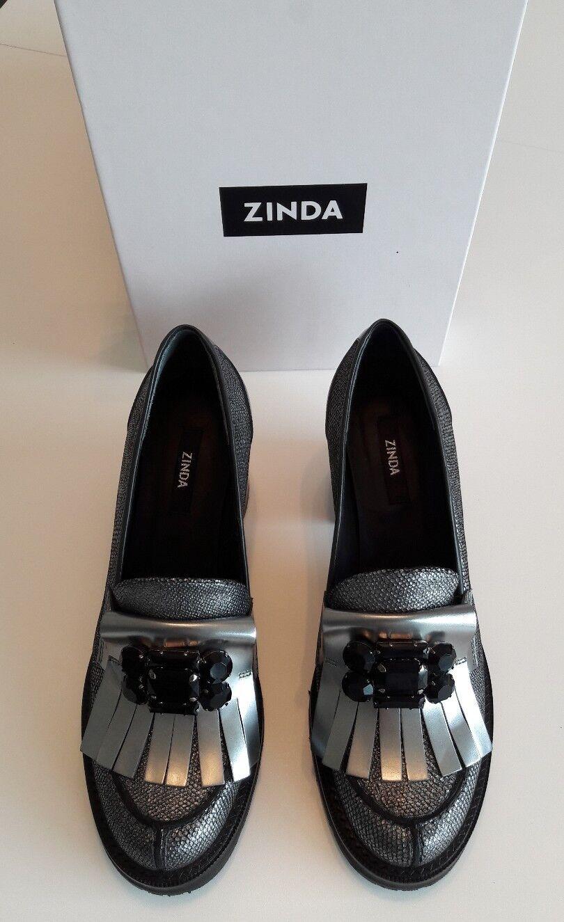 Zinda Pumps Größe Blockabsatz schwarz, silber Größe Pumps 39 NEU 4e807b