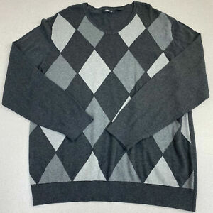 Claiborne V Neck Sweater Mens 2XL Gray White Long Sleeve Argyle Knit Pullover