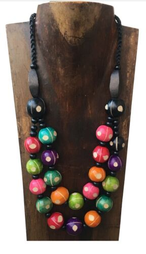 Multi Coloured Spotty Dotty Super Chunky Double Strand Wooden Beaded Necklace