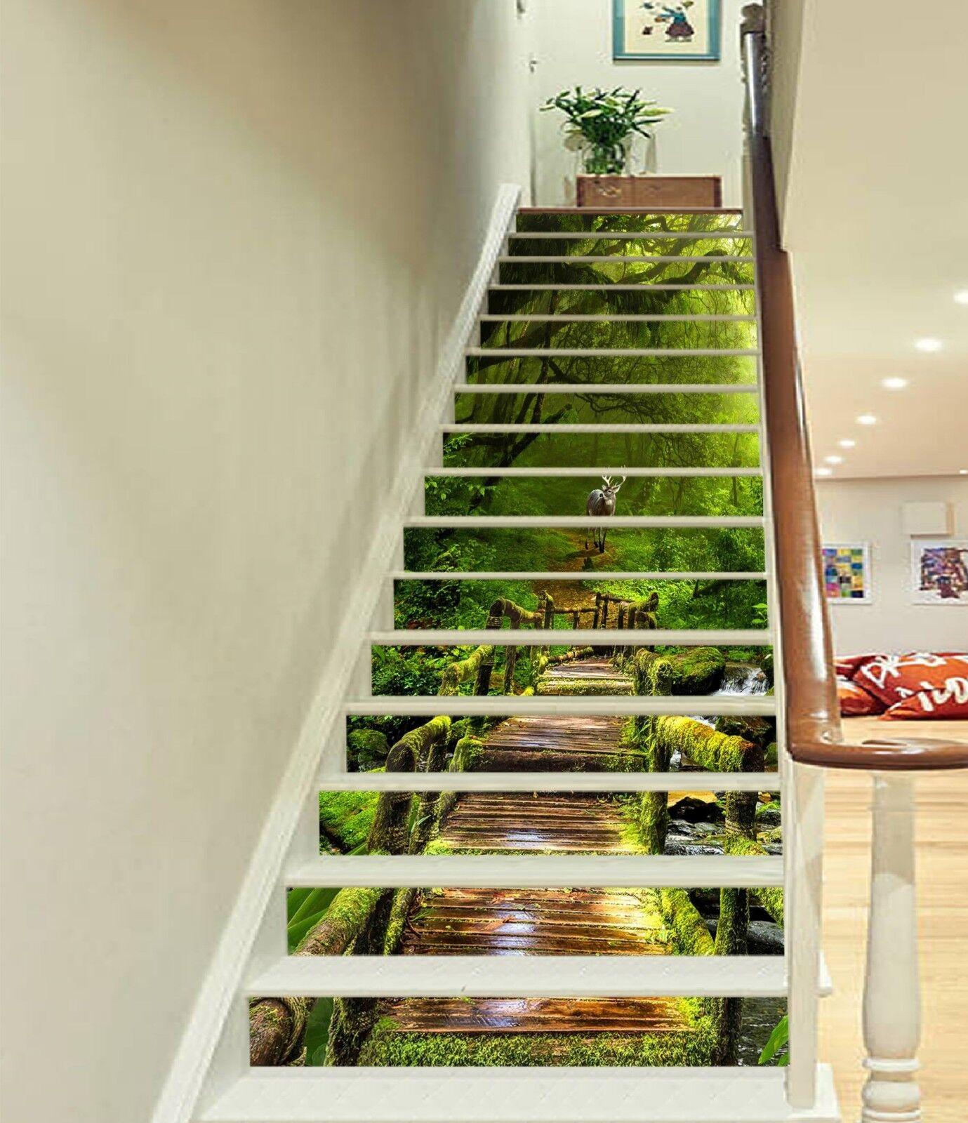 3D Wooden Bridge 3 Stair Risers Decoration Photo Mural Vinyl Decal WandPapier UK