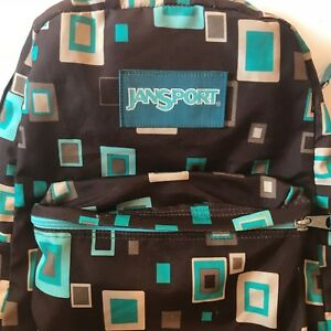 259379ae4ec Details about JanSport Backpack Brown Geometric Blue Squares Day Pack Book  Bag