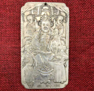 Old-China-Tibet-Silver-Wen-Wealth-God-Amass-Fortunes-Thanka-Amulet-Pendant