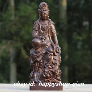9-4-034-Chinese-Wood-Hand-carved-Buddhism-Kwan-yin-Goddess-Guan-Yin-Buddha-Statue