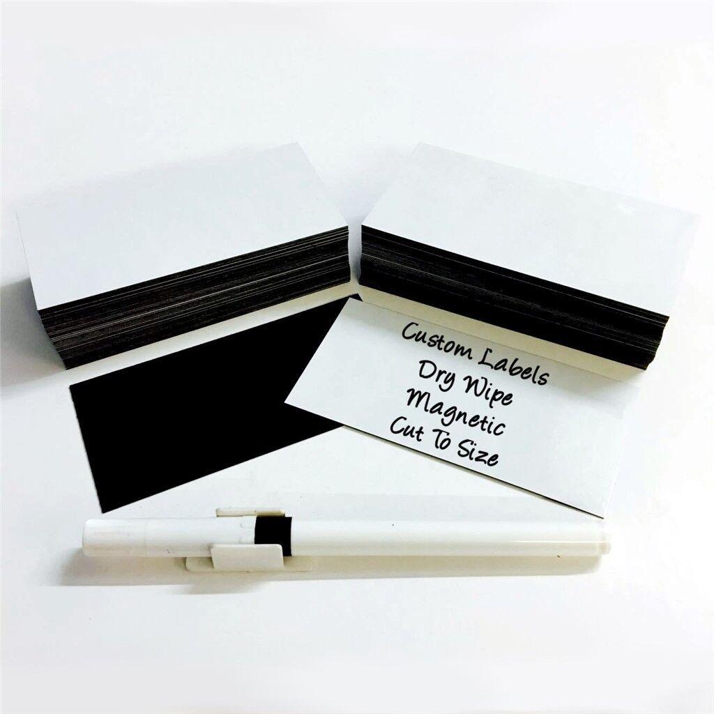 100 x Magnetic Dry Wipe Labels Weißboard - Many Größes