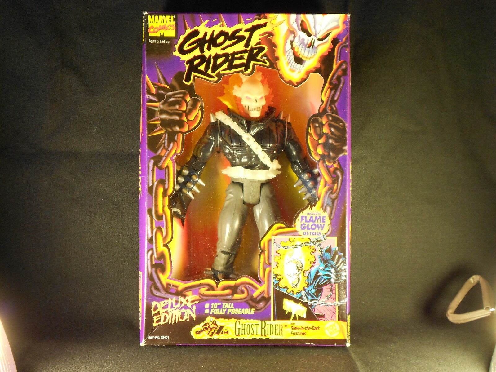 MarvelComics Ghost Rider 10 Inch Fully Poseable Glow in the Dark Feature Toy Biz