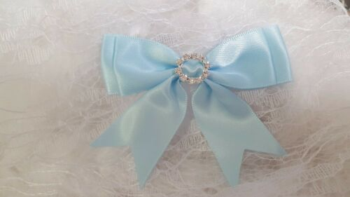 Ribbon Double Bow Large Ornate Satin with Diamante Buckle  4 Colours to Choose