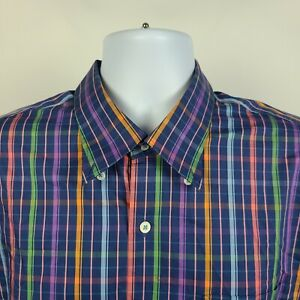 Peter-Millar-Weekender-Finish-Multi-Color-Check-Plaid-Mens-Dress-Button-Shirt-XL